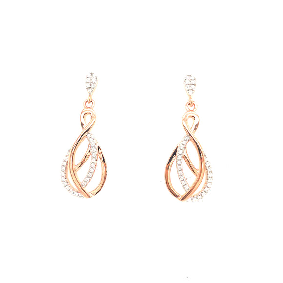 Sterling Silver Rose Gold Plated Teardrop Earring