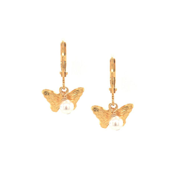 Gold Embossed Butterfly With Hanging Pearl Earring