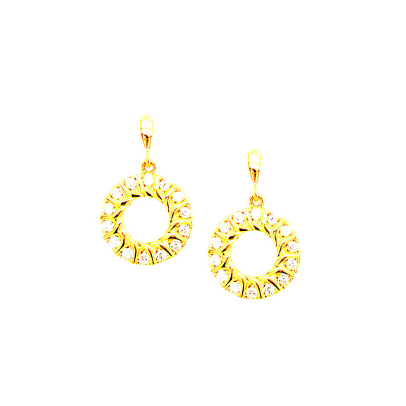Sterling Silver Gold-plated Circle with CZ Earrings