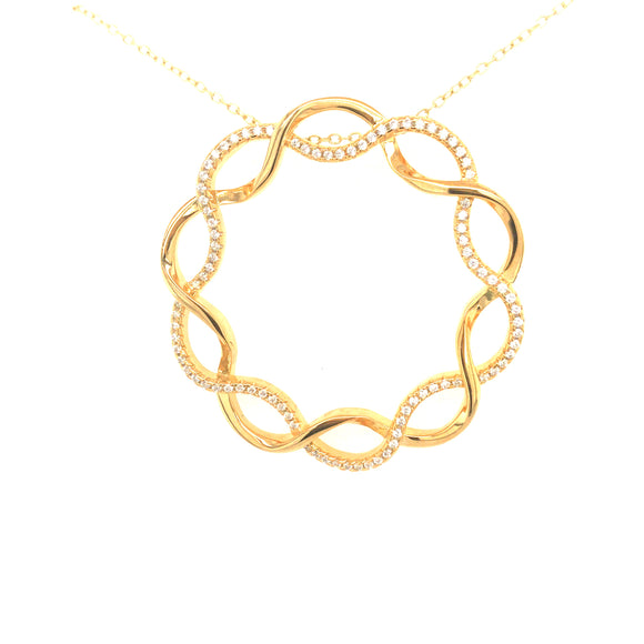 Sterling Silver Gold Plated Twisted Circle Pendant