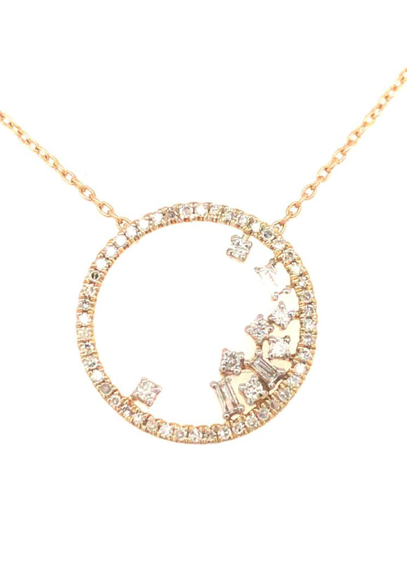 10K Gold Circle And Diamond Pendant
