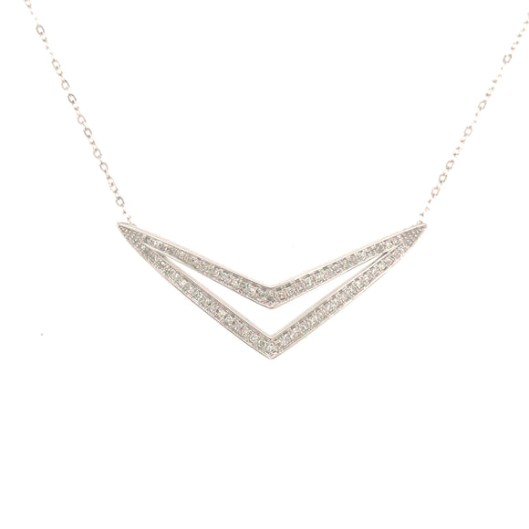 14K Gold And Diamond Double V-Shaped Necklace