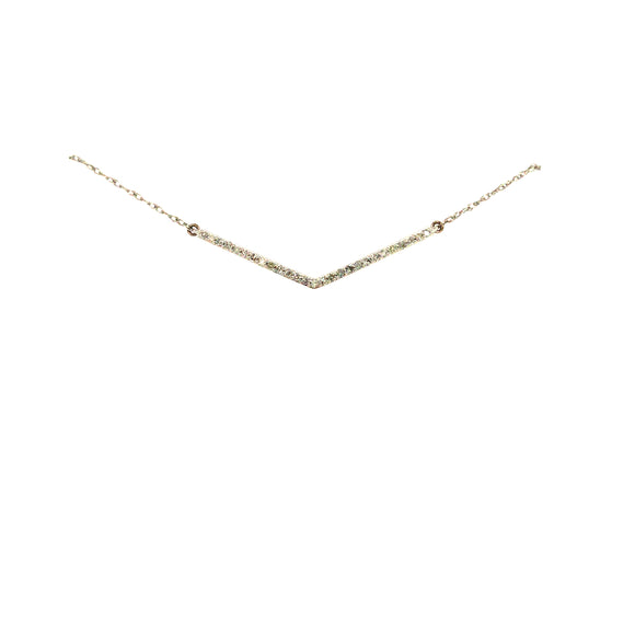 10K Gold And Diamond V Shape Necklace