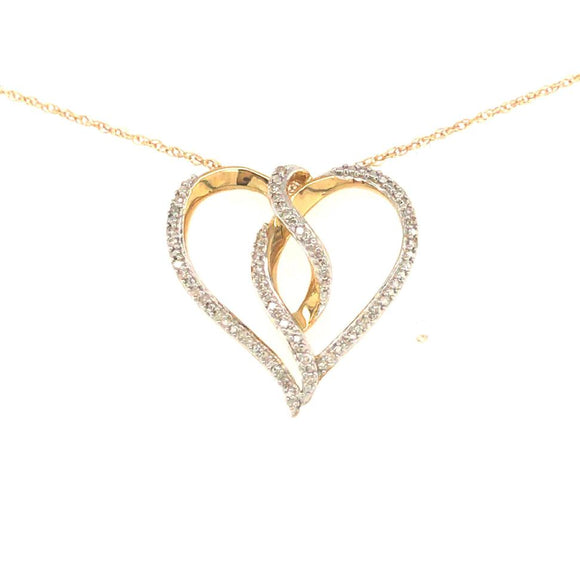 10K Gold And Diamond Twisted Heart Pendant