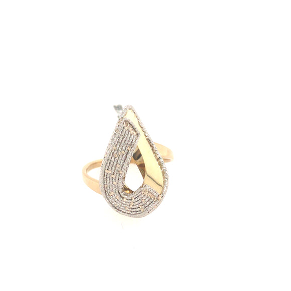 14K Gold Wavy Teardrop Ring