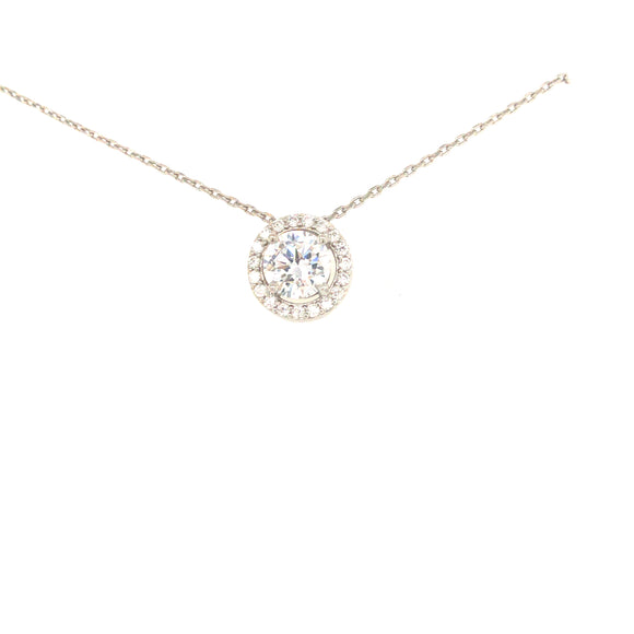 Sterling Silver Round Solitaire Necklace