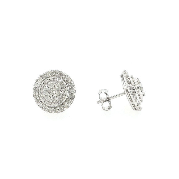 10K Gold And Diamond Round Stud Earrings