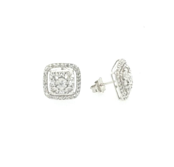 10K Gold And Diamond Cushion Shape Halo Stud Earrings