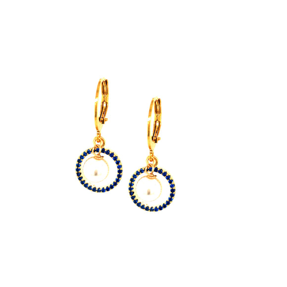 Small Micropave Blue CZ Circle With 6mm Hanging Pearl