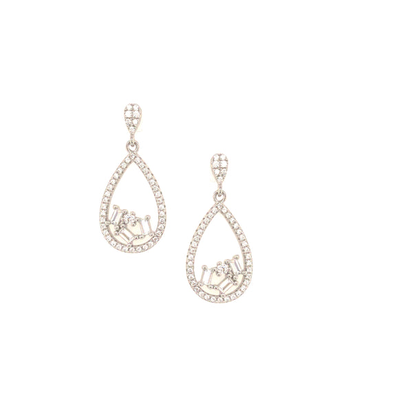 Sterling Silver MicroPavé Teardrop Earring