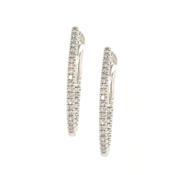 10K Micropave Oval Diamond Hoops