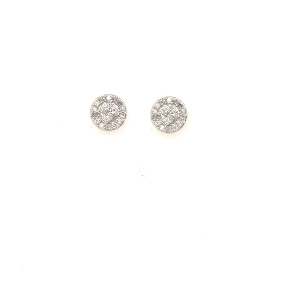 14K Micropave Round Shaped Diamond Stud