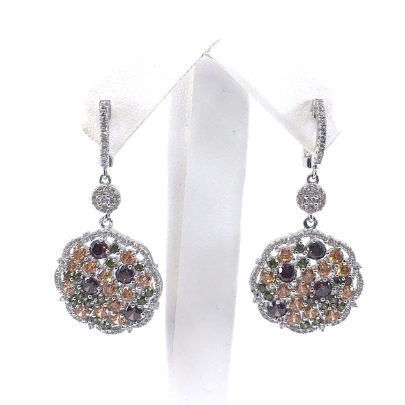 Sterling Silver Multicolor Circle Earrings