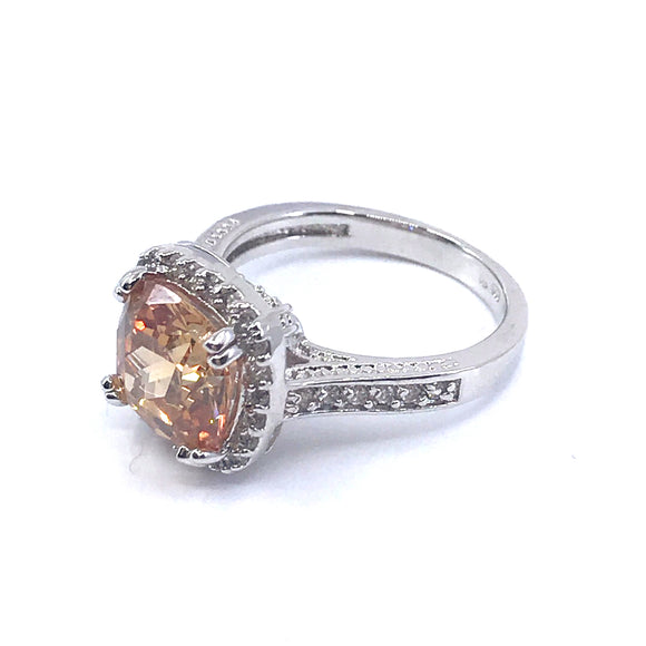 Sterling Silver Square Stone Ring