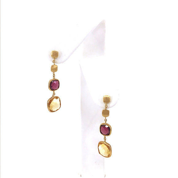 14K Gold Square Earrings