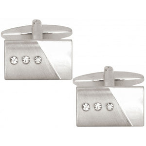 Brushed & Polished 3 Crystals Rectangle Rhodium Cufflinks