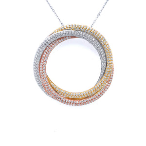 Sterling Silver Tricolor Interlocking Circles Pendant
