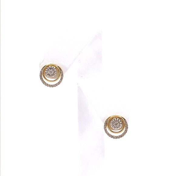 14K Gold Circle Stud Earrings