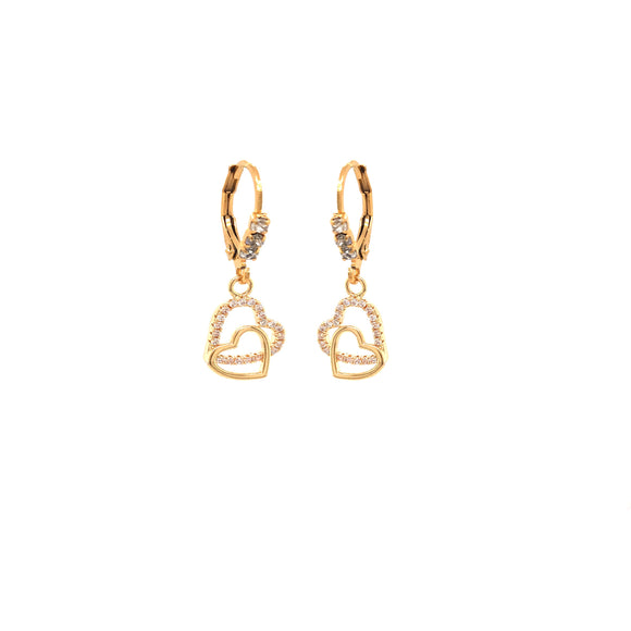 Surgical Steel Double Heart Champagne Earring