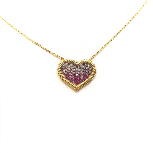 Sterling Silver Pink Heart Necklace