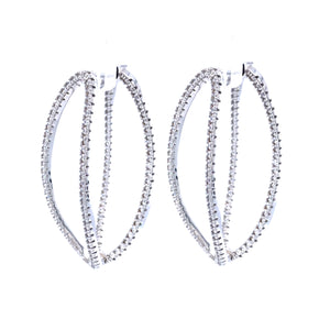 Sterling Silver Double Oval Earrings