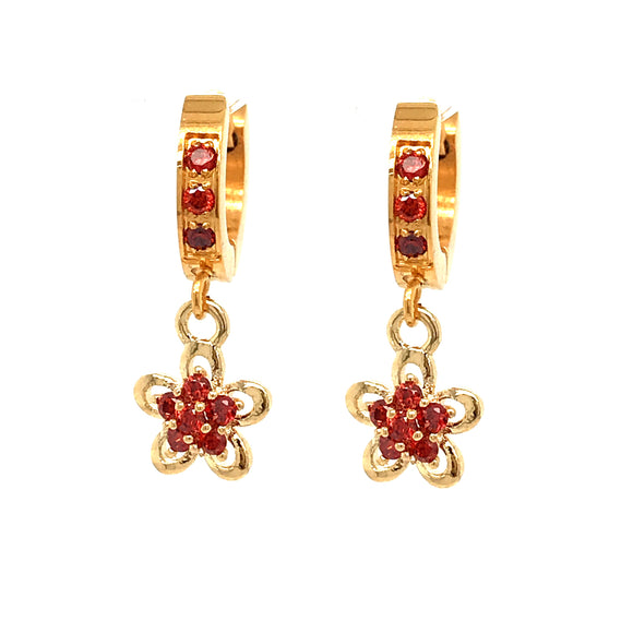 Surgical Steel Red Flower Earrings