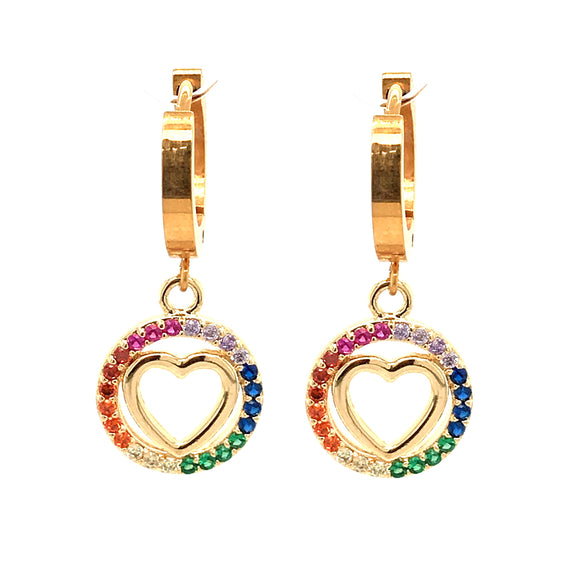 Surgical Steel Rainbow Circle with Heart Earring