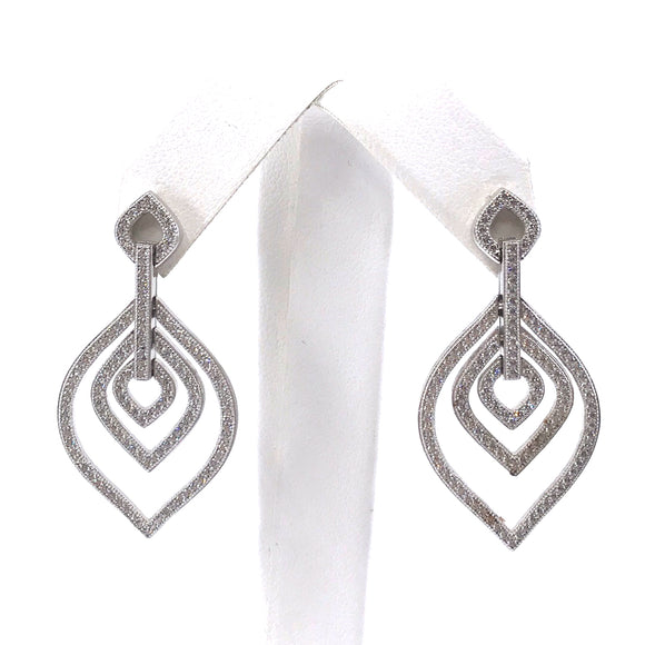Sterling Silver Diamond-Shape Earrings