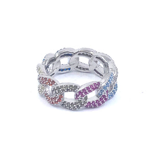 Sterling Silver Rainbow Chain Ring