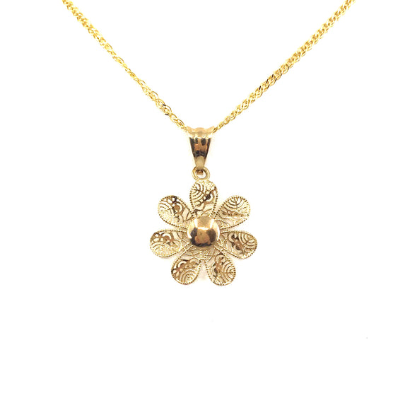 14K Gold Flower Pendant