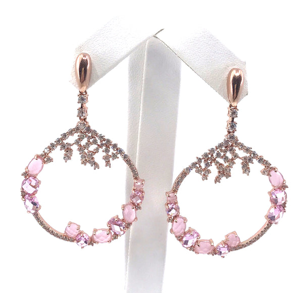 Sterling Silver Rose Gold Plated Pink Earrings