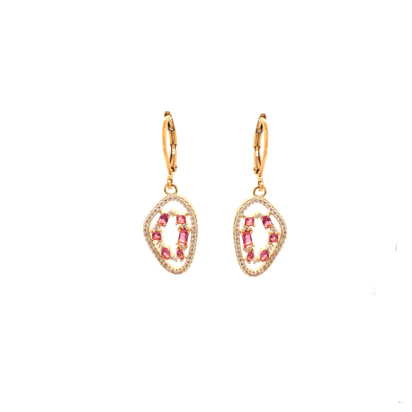 Gold Plated Earring And Hanging Natural Micropave Stone Shape