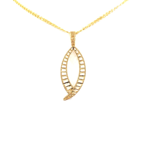 14K Gold Marquis-Shaped Pendant