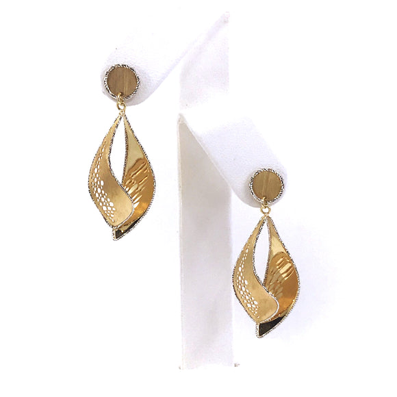 14K Gold Marquis-Shaped Earrings