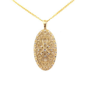 14K Gold Oval Pendant