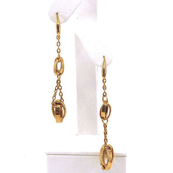 14K Gold Oval Link Earrings