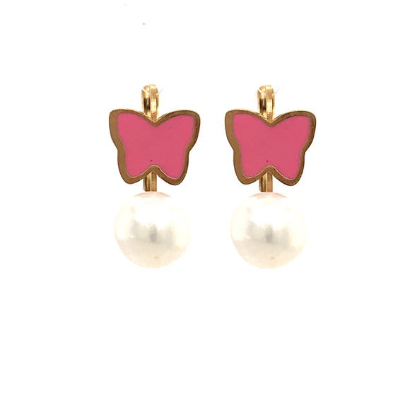 Surgical Steel Pink Butterfly Pearl Earrings