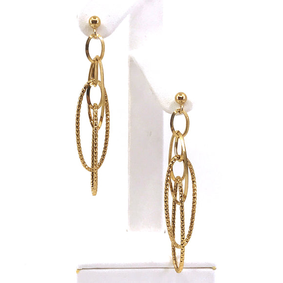 14K Gold Oval Loops Earrings