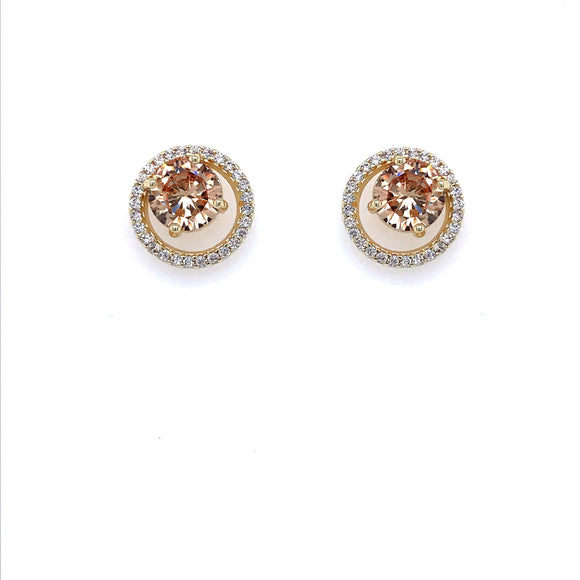 Surgical Steel Champagne Stone Studs