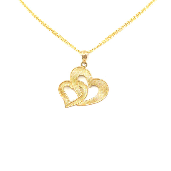 14K Gold Double Heart Pendant