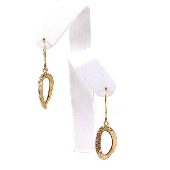 Gold Twisted Oval Earrings
