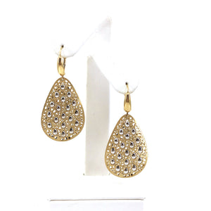14k Large Teardrop Two Tone Earrings