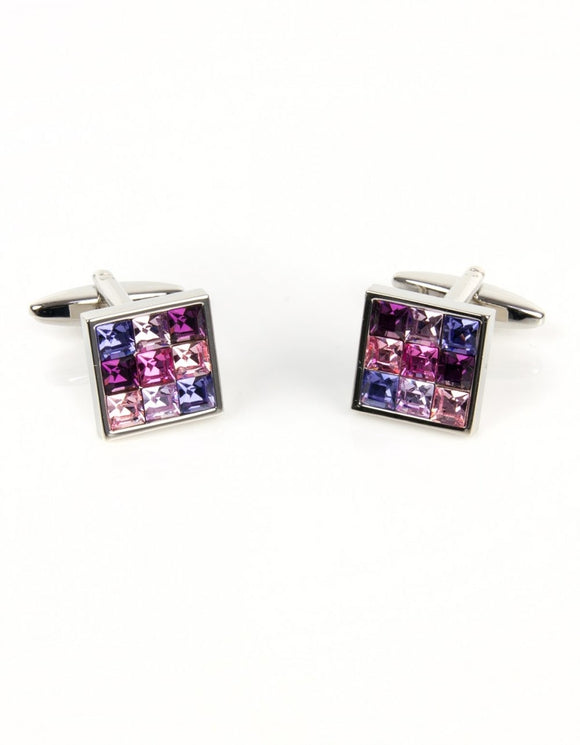 Pink and Purple Square Cufflinks
