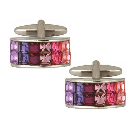 Curved Rectangle Pink and Purple Cufflinks