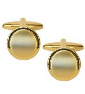 Shiny Edge Brushed Gold Plated Round Cufflinks