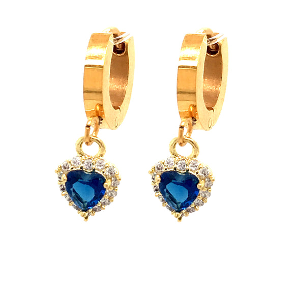 Surgical Steel Blue Tiny Heart Earrings