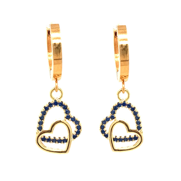 Surgical Steel Blue Double Heart Earrings