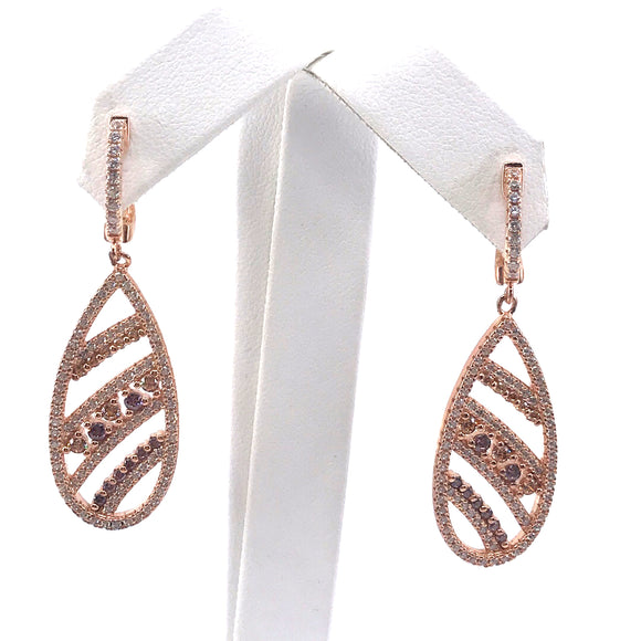 Sterling Silver Rose Gold Plated Teardrop Earrings