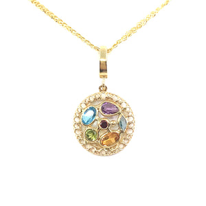 14K Gold Circle Pendant With Semiprecious Stones