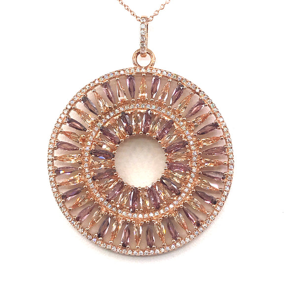 Rose Gold Plated Sterling Silver Circle Pendant